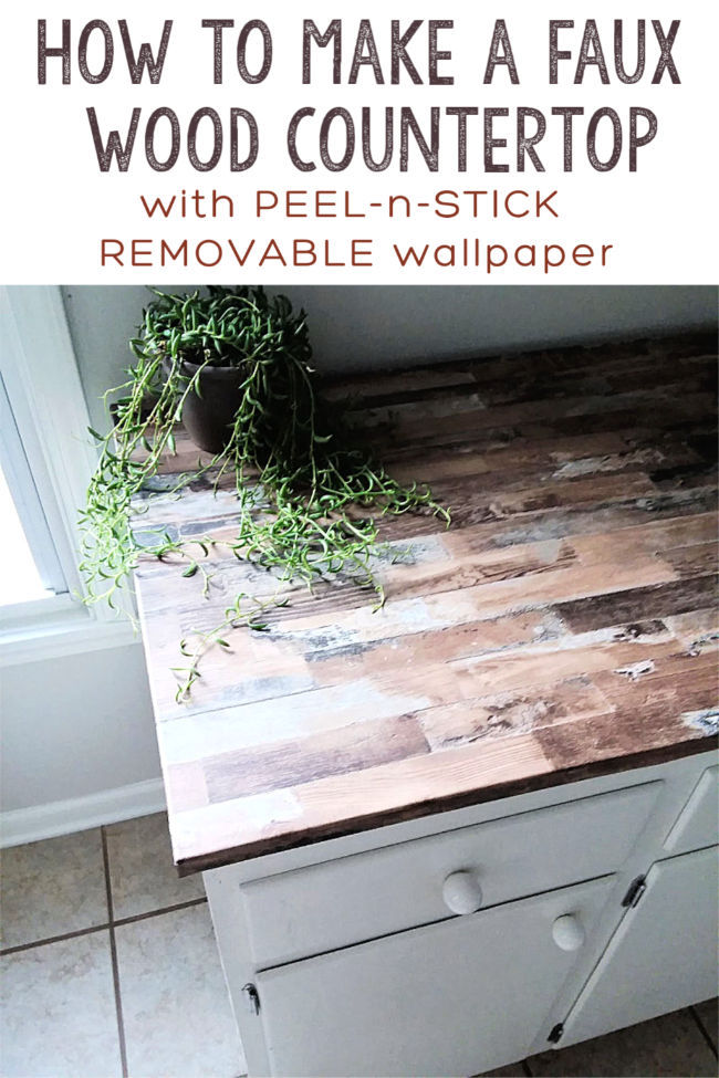 Make A Faux Wood Countertop With Peel And Stick Wallpaper Stow Tellu Wood Countertops Cheap Kitchen Countertops Cheap Countertops