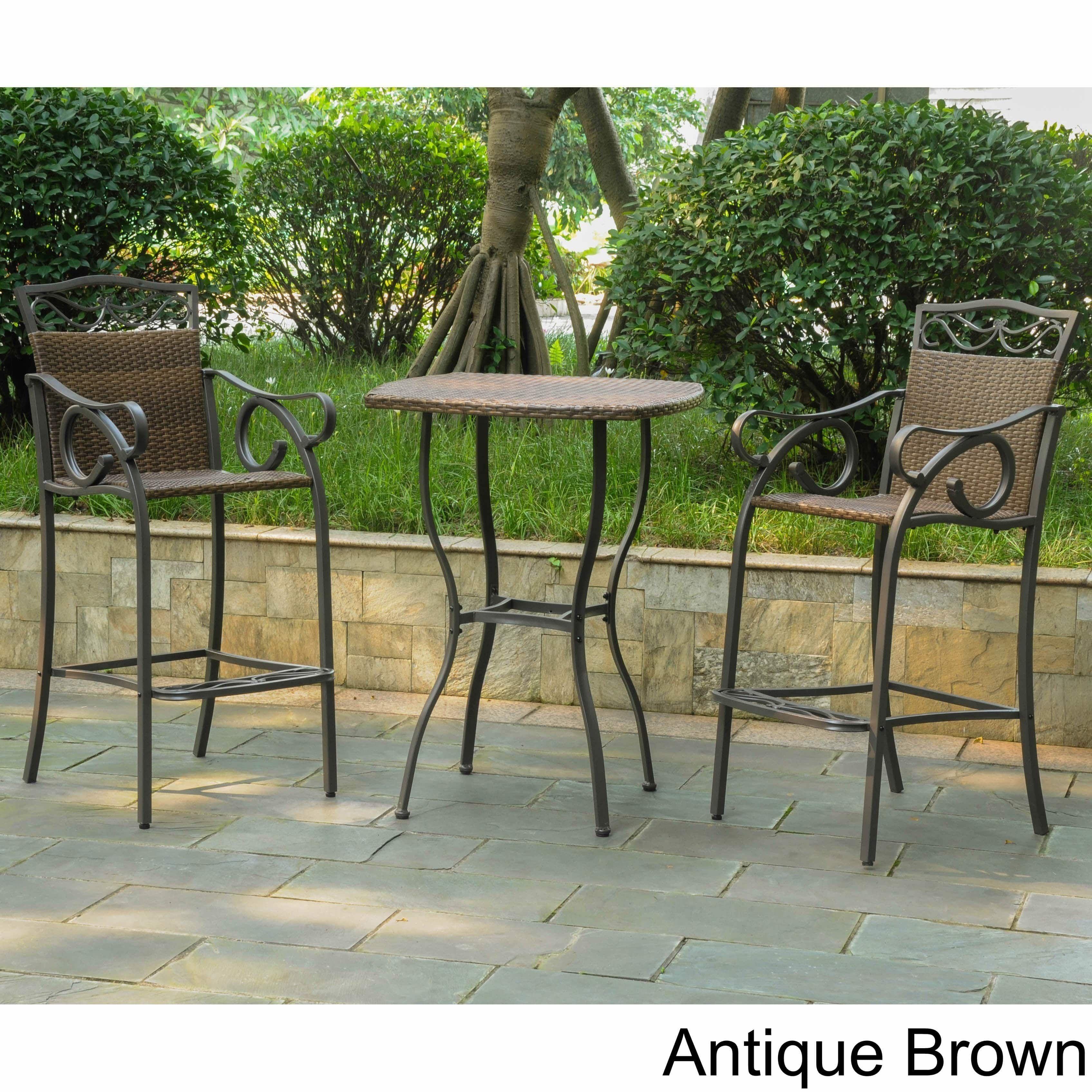 International Caravan Valencia Resin Wicker Steel 3 Piece Bar Height Bistro Set Brown Patio Furniture
