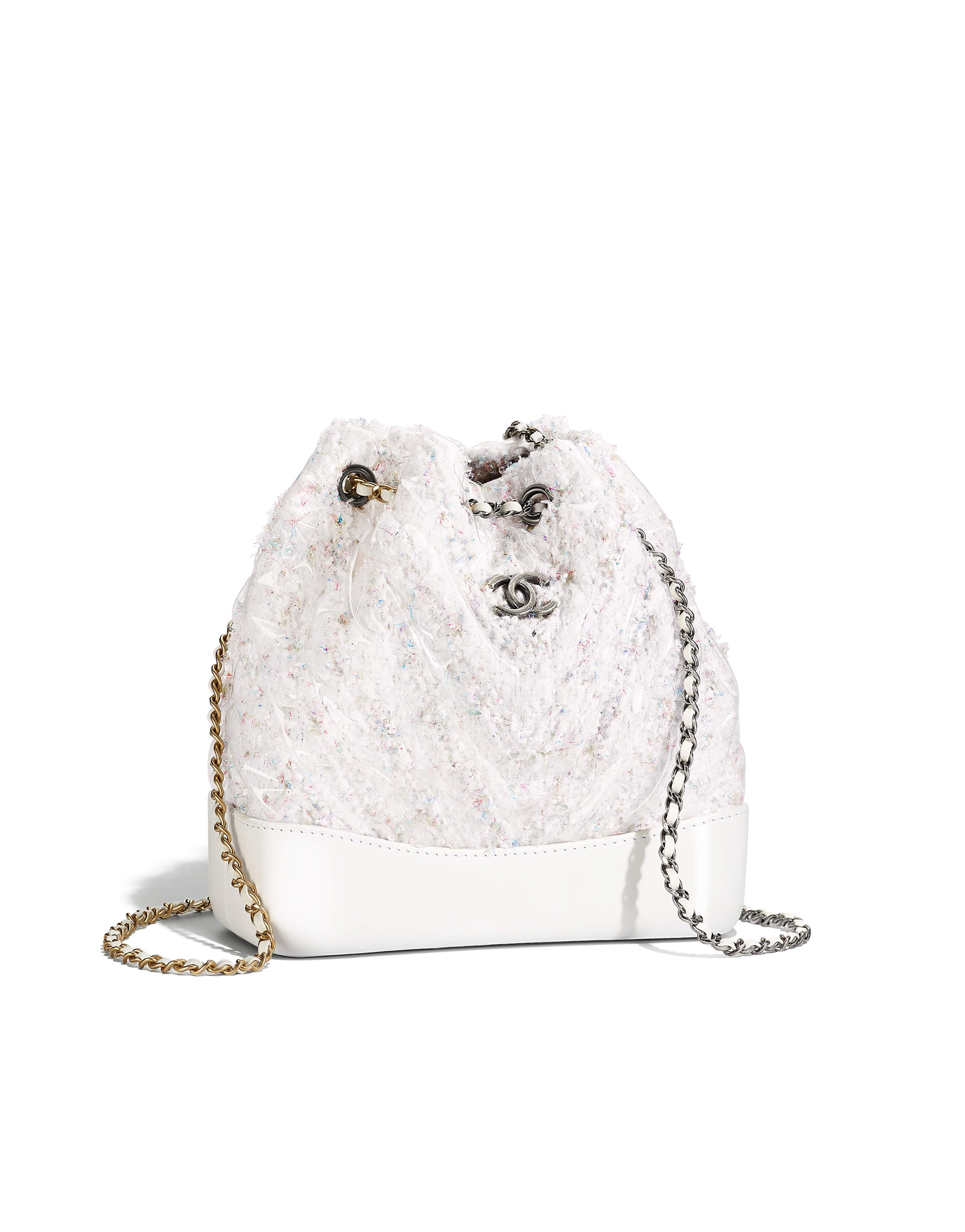 CHANEL S GABRIELLE Small backpack, tweed, pvc, patent calfskin, silver-tone    gold-tone metal-white - CHANEL 763fb929fa