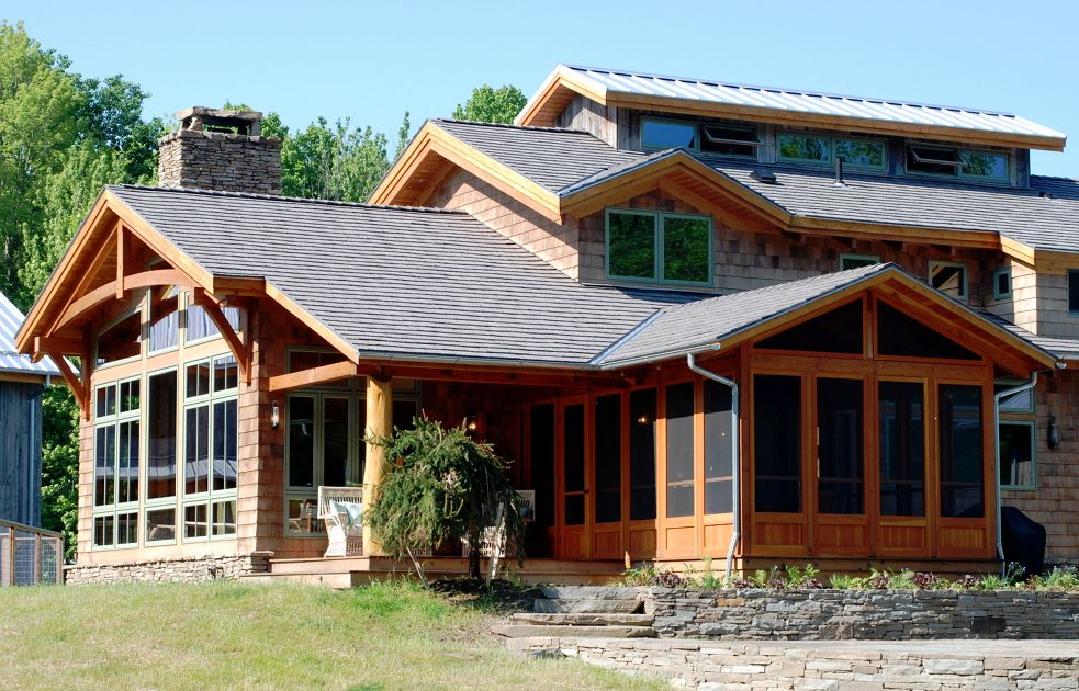 Three season attached porch; timberframe accents | House - Patio ...