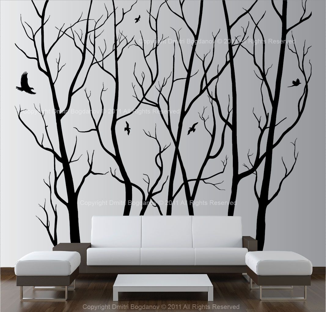 Large wall art decor vinyl tree forest decal sticker choose size large wall art decor vinyl tree forest decal sticker choose size and color amipublicfo Gallery