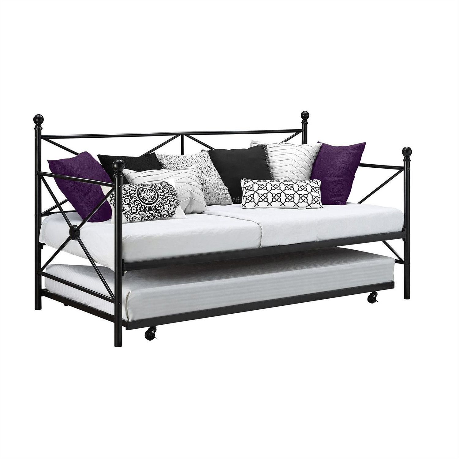 Twin size Contemporary Daybed and Trundle Set in Black Metal Finish ...