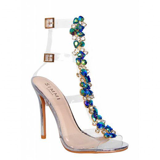 9b6b5a654e Lucia Silver Snake Gem Clear Stiletto Heels : Simmi Shoes   Schuhe ...