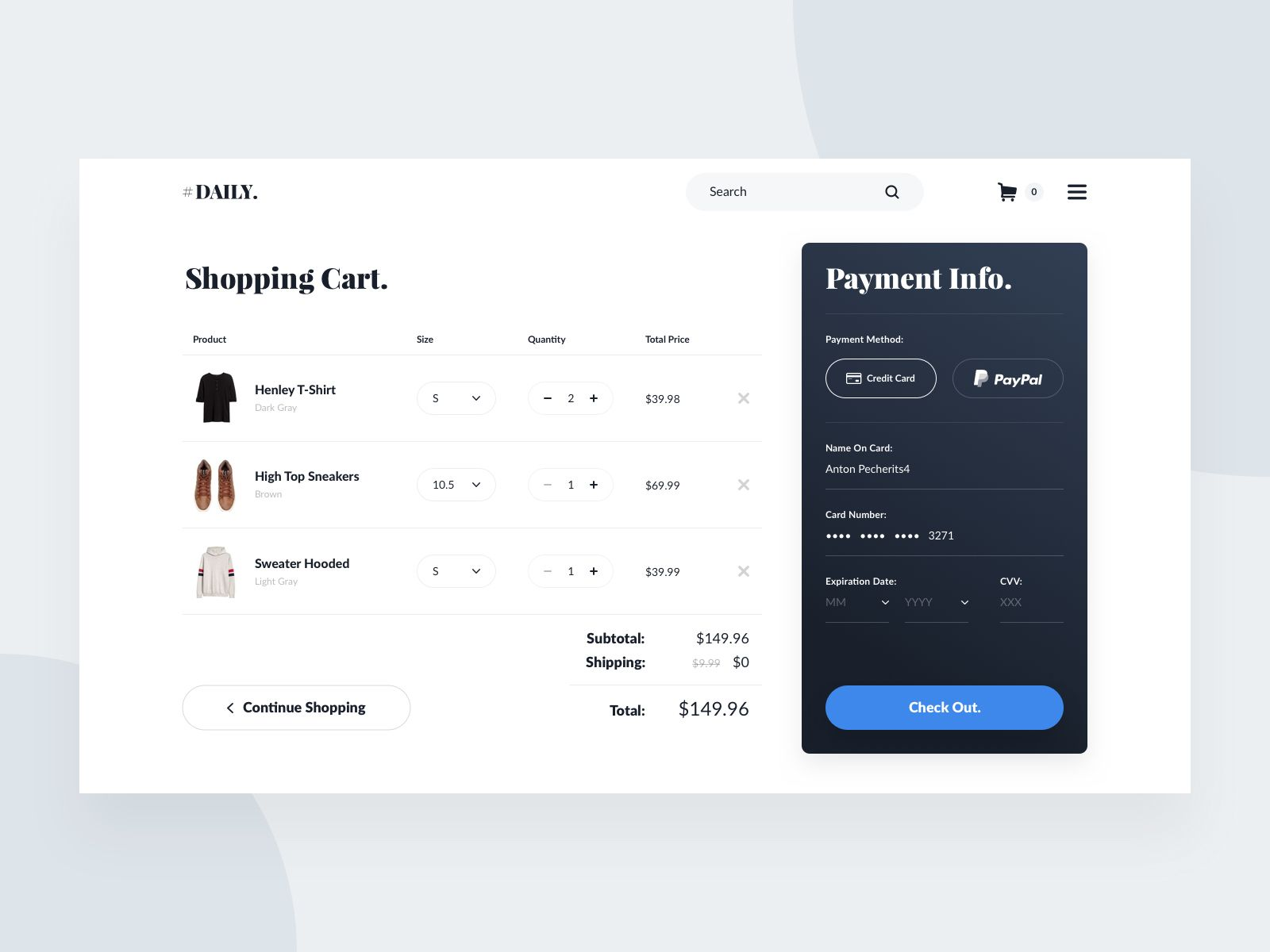 Daily UI #02 - Checkout | Dribbble / ui