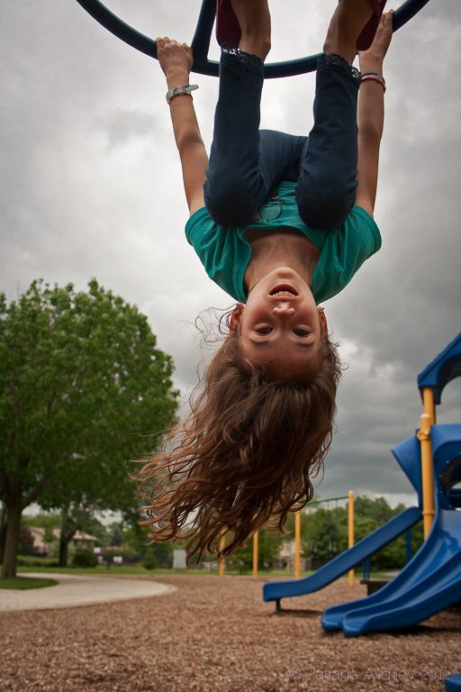 I did this with Nina before i cut her hair off to donate to locks of love! Upside down