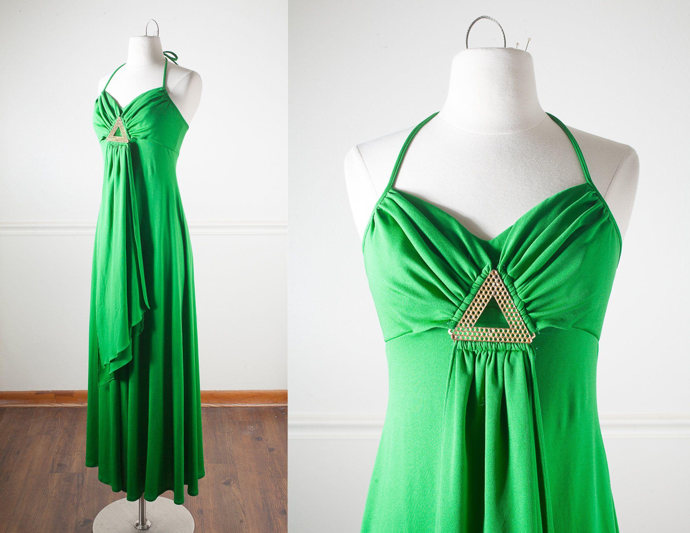 Bright Green 70s Dress, Disco Dress, Evening Gown, Halter