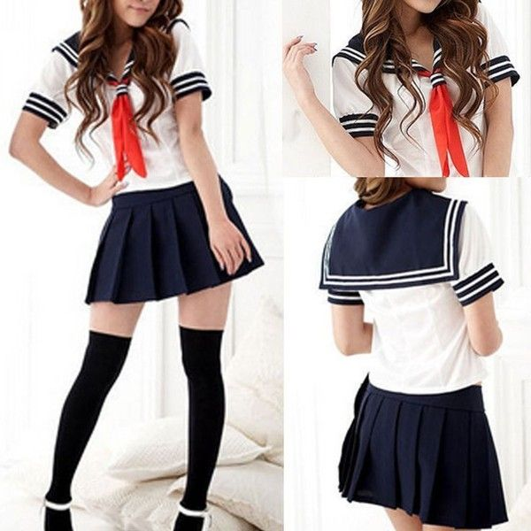 b2bc93235 Modern Cosplay Japanese School Girl Students Sailor Uniform Sexy Anime... ❤  liked on Polyvore featuring costumes, role play costumes, sexy sailor  costume, ...