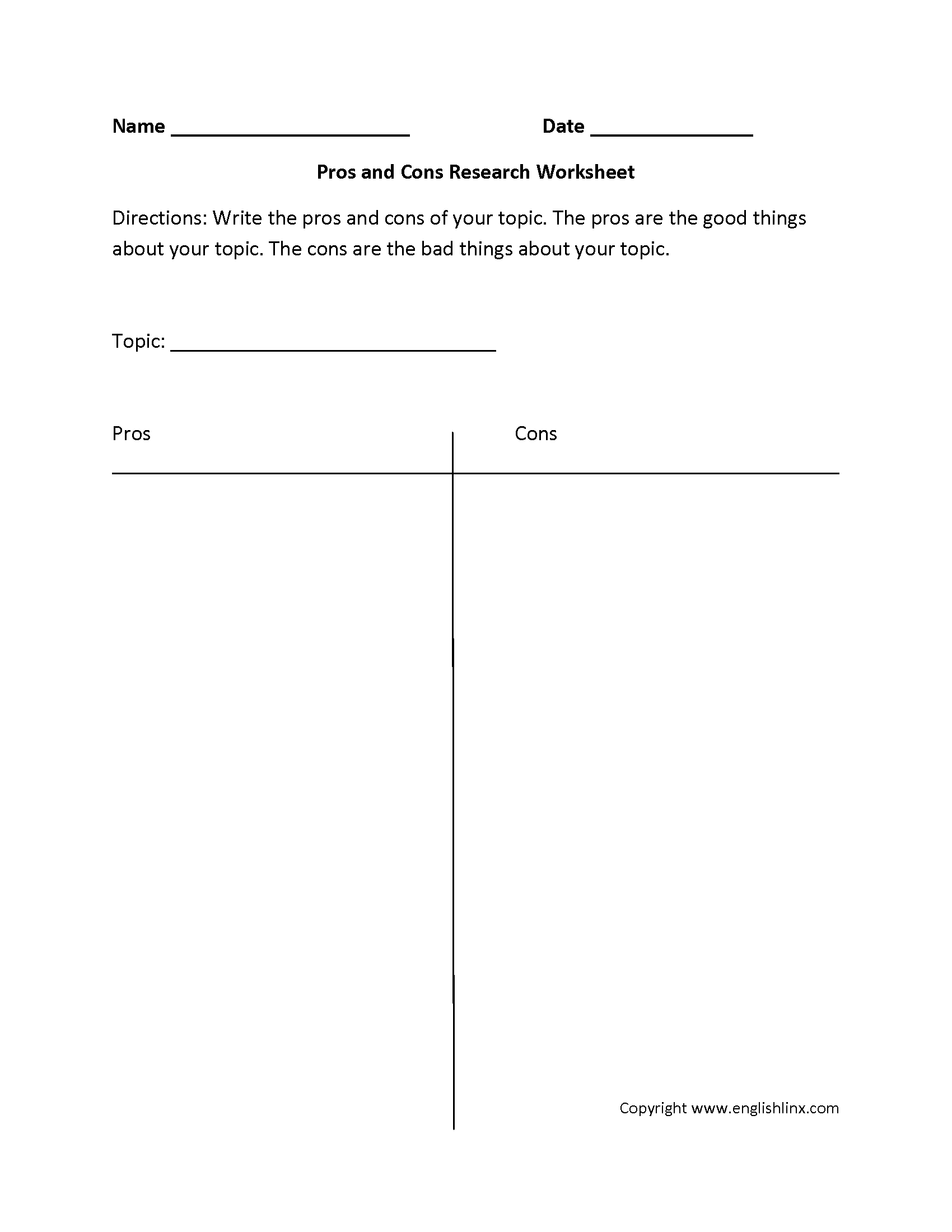 Pros And Cons Worksheet