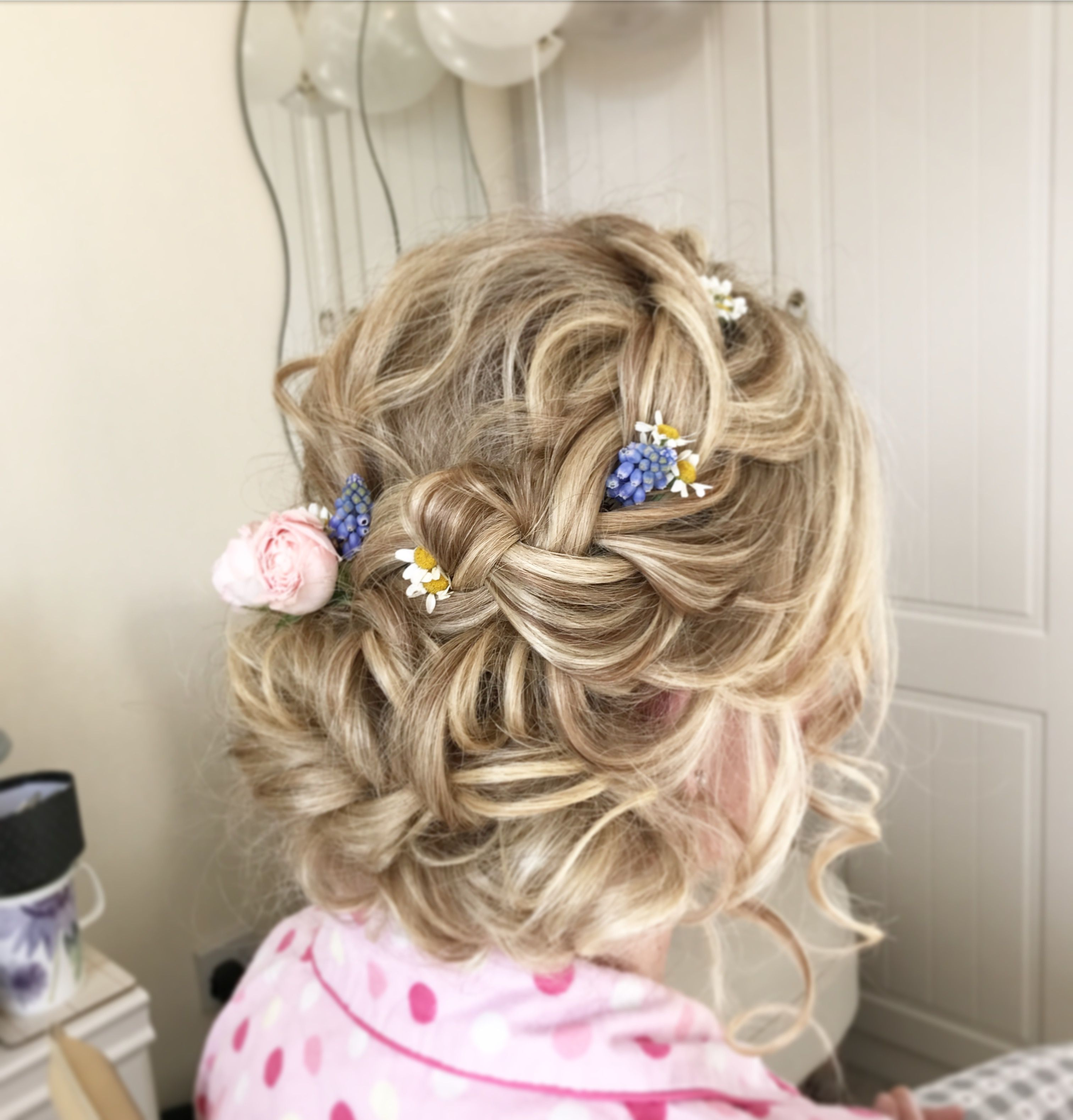 halo-braid wedding hair blonde updo plaits plaited braid braided