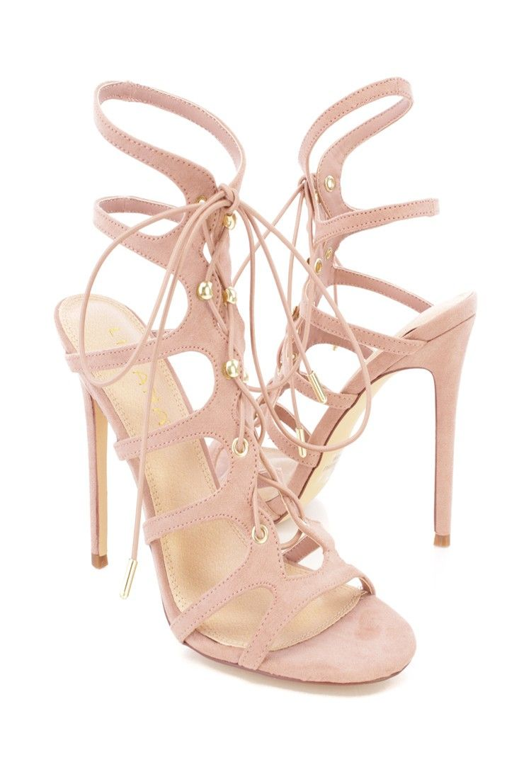 66d3441452 wear these stylish single sole heels! feature faux suede material, open  toe, criss cross lace up, smooth lining, vamp scoop footbed.
