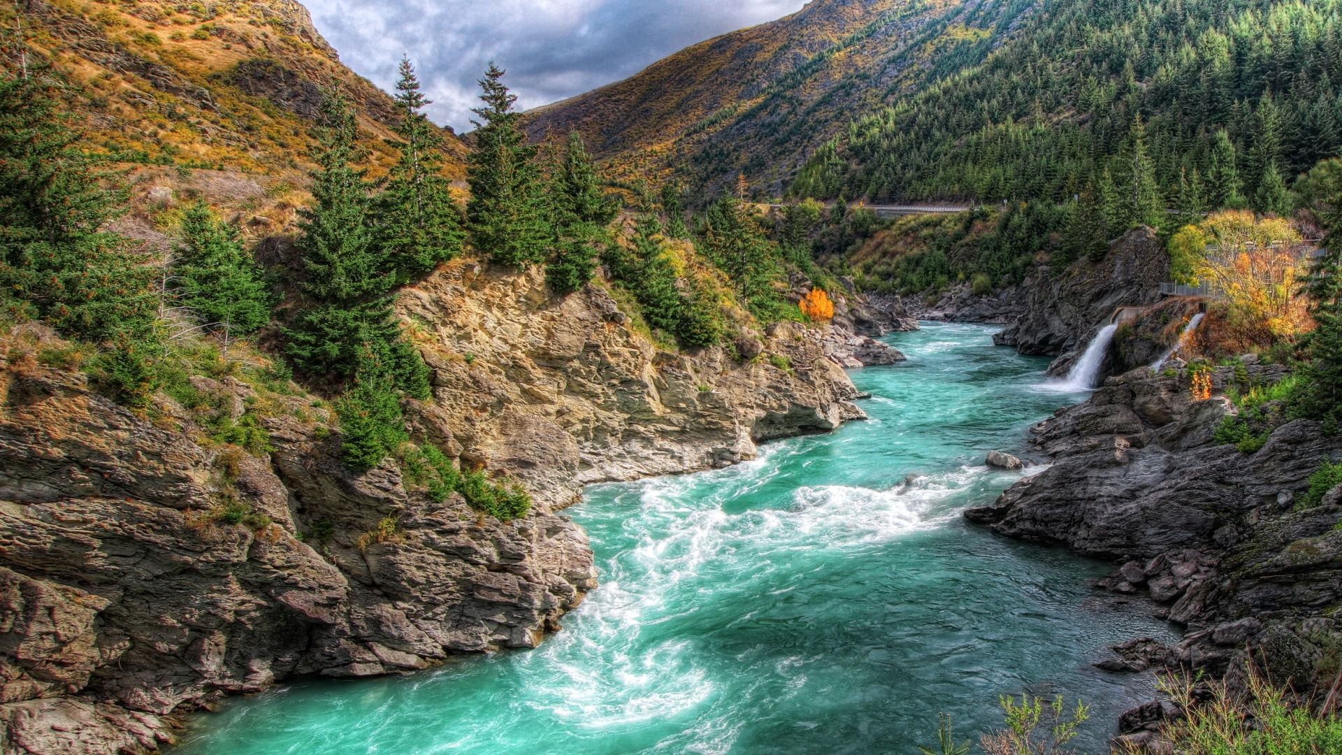 Download Wallpaper Mountains River Stones New Zealand Trees Section Priroda Resolution 1920x1080 In 2020 River Mountain Landscape Mountain River