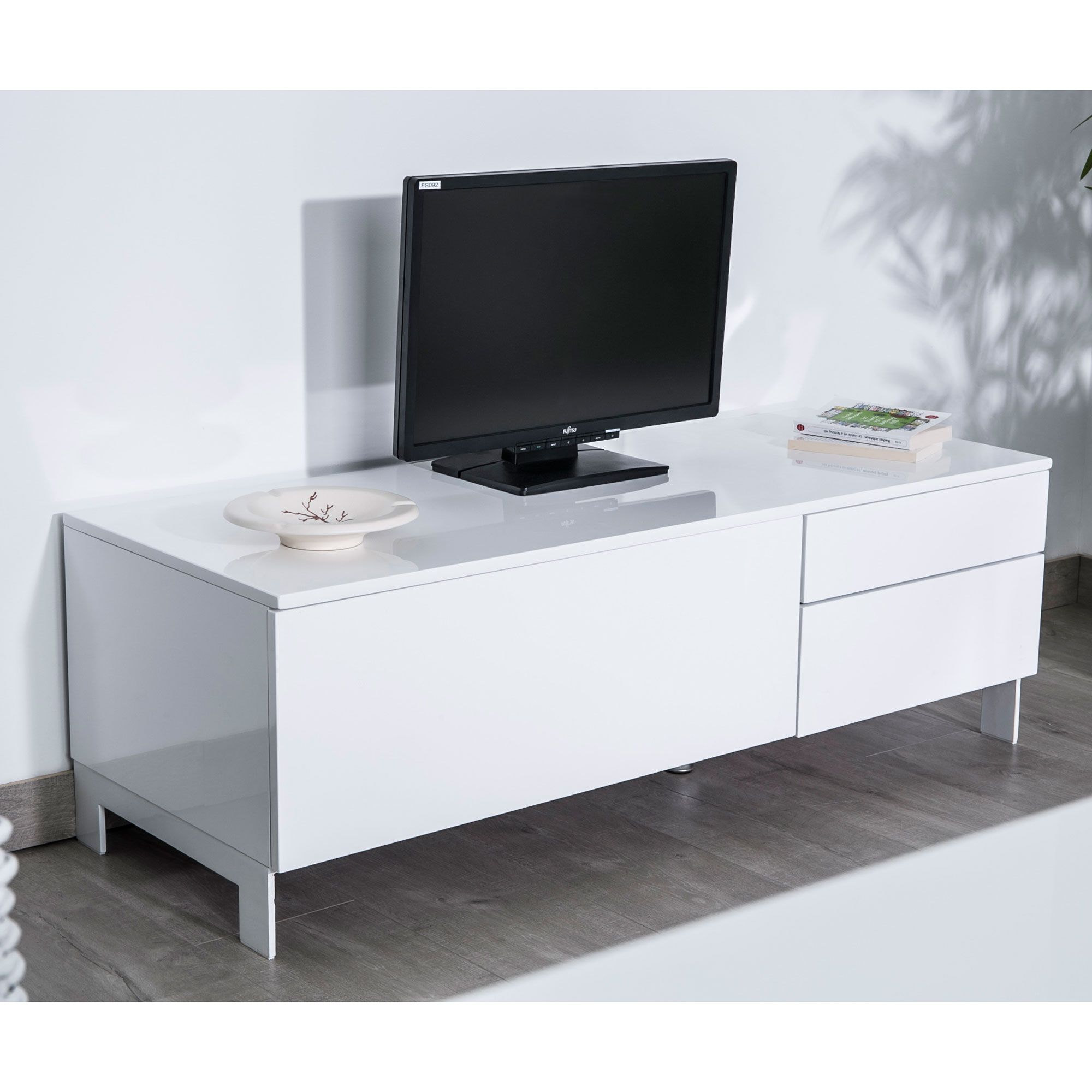 meuble tv 90 cm gris. Black Bedroom Furniture Sets. Home Design Ideas