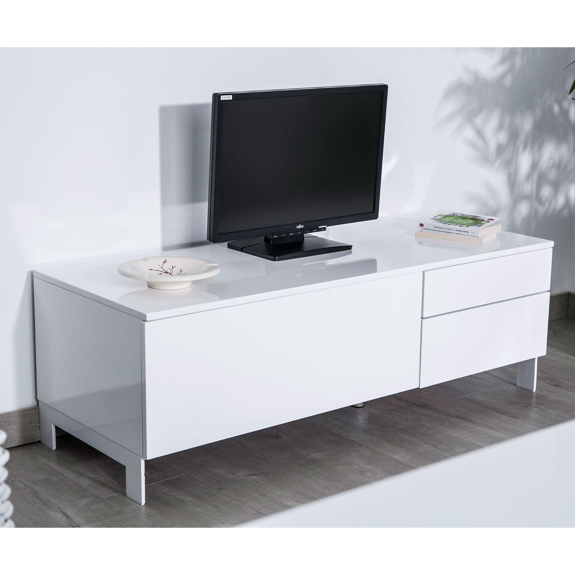 Tonnant Meuble Tv Avec Porte D Coration Fran Aise Pinterest  # Meuble Tv Blanc Laque Max Accueil