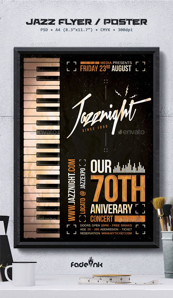 jazz flyer poster template by fadeink jazz flyer poster template