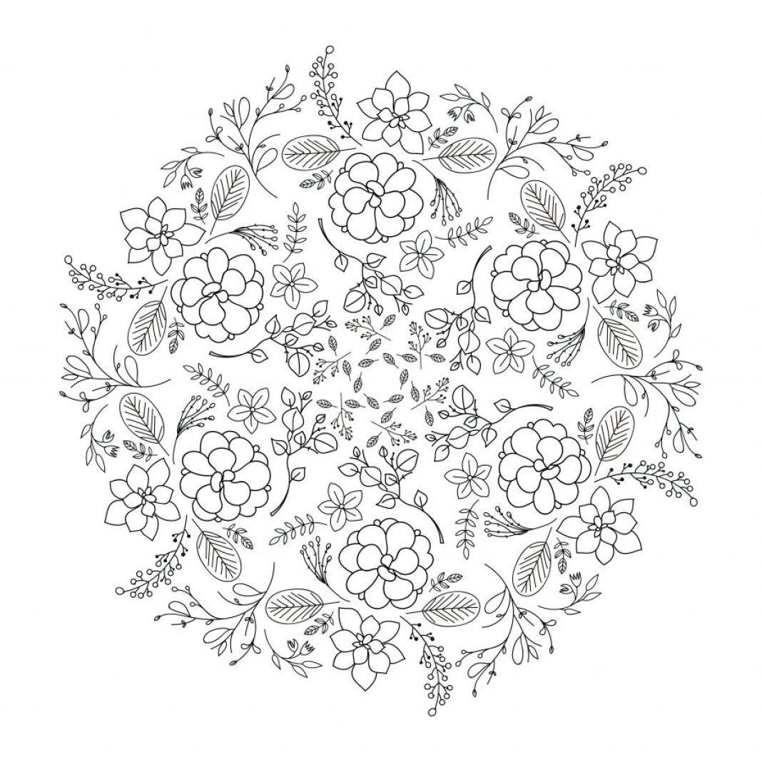 Flores Y Ramas Mandala Coloring Coloring Pages Mandala