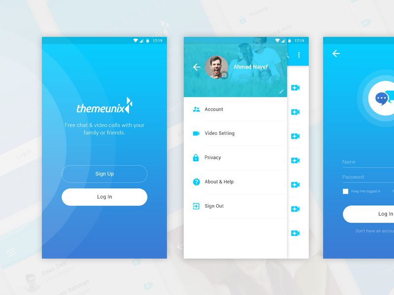 Themeunix Video Calling App App, Material design, App