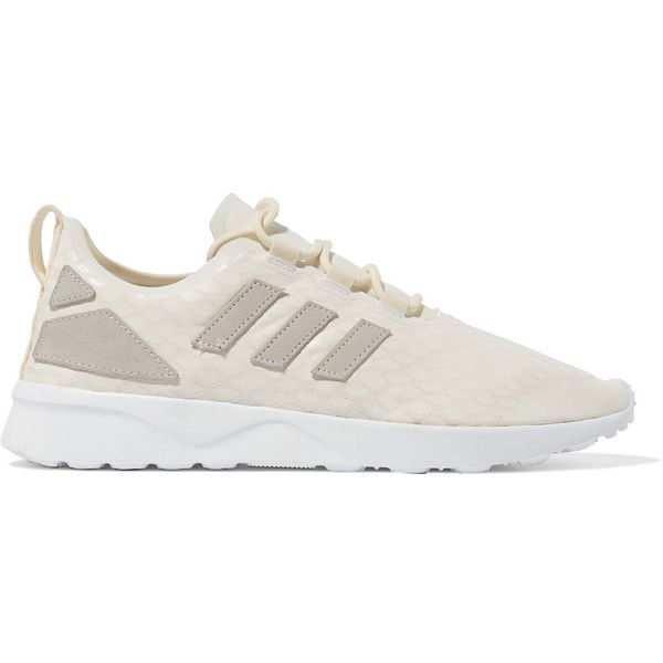 Adidas Originals ZX Flux paneled faux brushed-suede sneakers (285 ILS) ❤  liked on Polyvore featuring shoes, sneakers, white, white lace up sneakers,  white ...