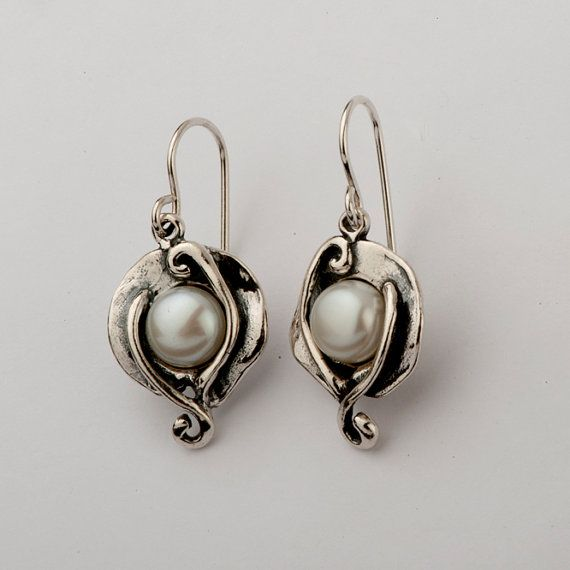Shablool Didae Israel Unique Silver Earrings With Cabochon Pearl White Stone