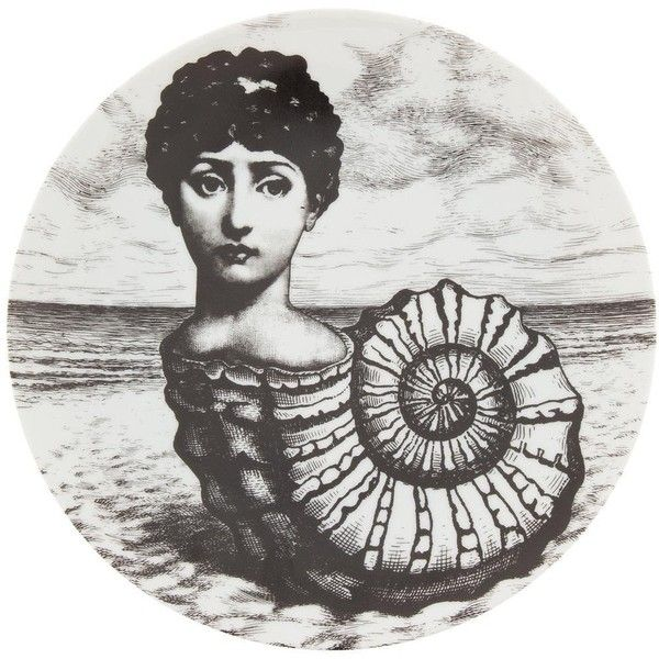 Fornasetti Plate (€125) ❤ liked on Polyvore featuring home, home decor, wall art, grey, fornasetti, sea shell wall art, black and white home decor, black and white plates and grey wall art