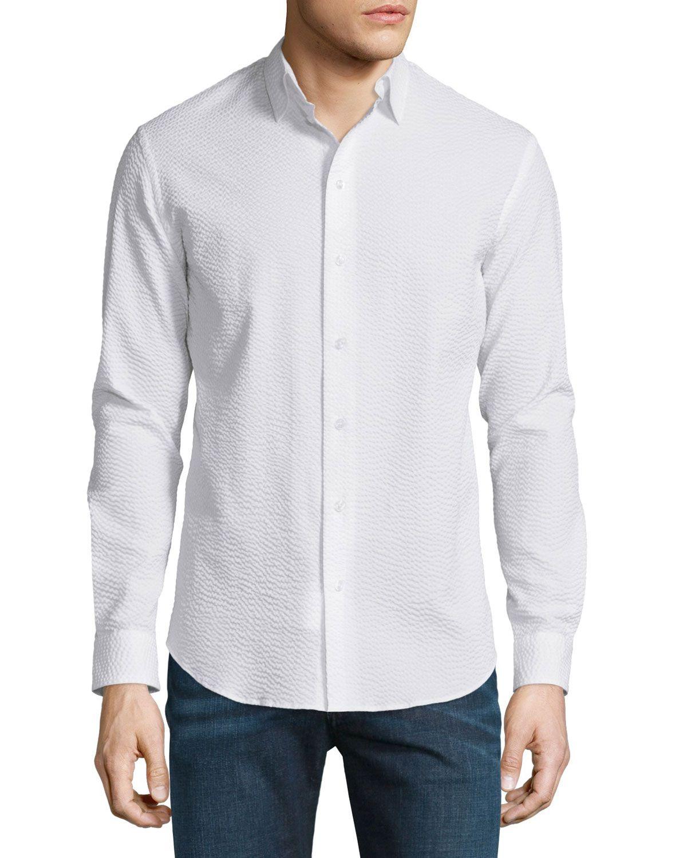 Seersucker Long-Sleeve Sport Shirt 411f5b584