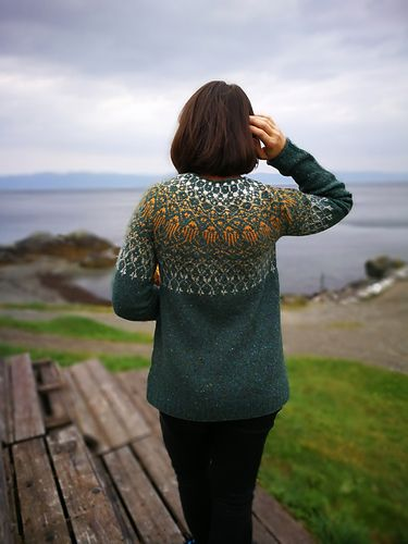 The pullover is knitted top down in the round until underarms, then sleeve sts and slipped onto scrape yarn and the body and sleeves are worked separately.