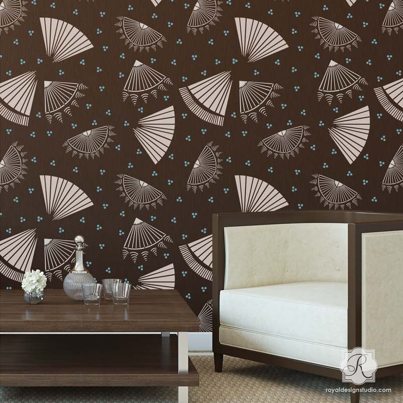 asian decor oriental fan stencils modern and geometric wall stencils royal design studio - Design Stencils For Walls
