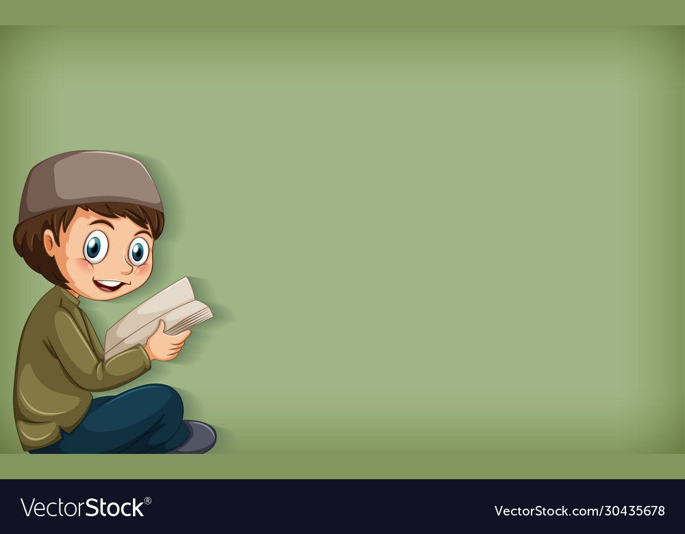 Plain Background With Muslim Boy Reading Book Illustration Download A Free Preview Or Hi Reading Books Illustration Background Design Vector Plains Background