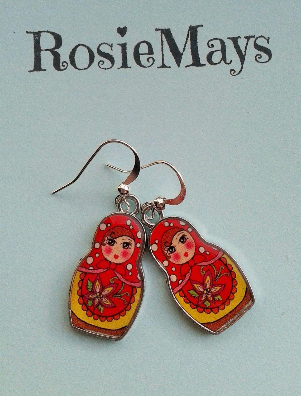 Russian Doll Earrings,Red Matryoshka Doll Drops, Nesting Doll Charms ...