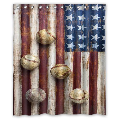 Bathroom Decor American Flag Baseball Waterproof Fabric Shower Curtain 60 X 72 Diycustom Nautical