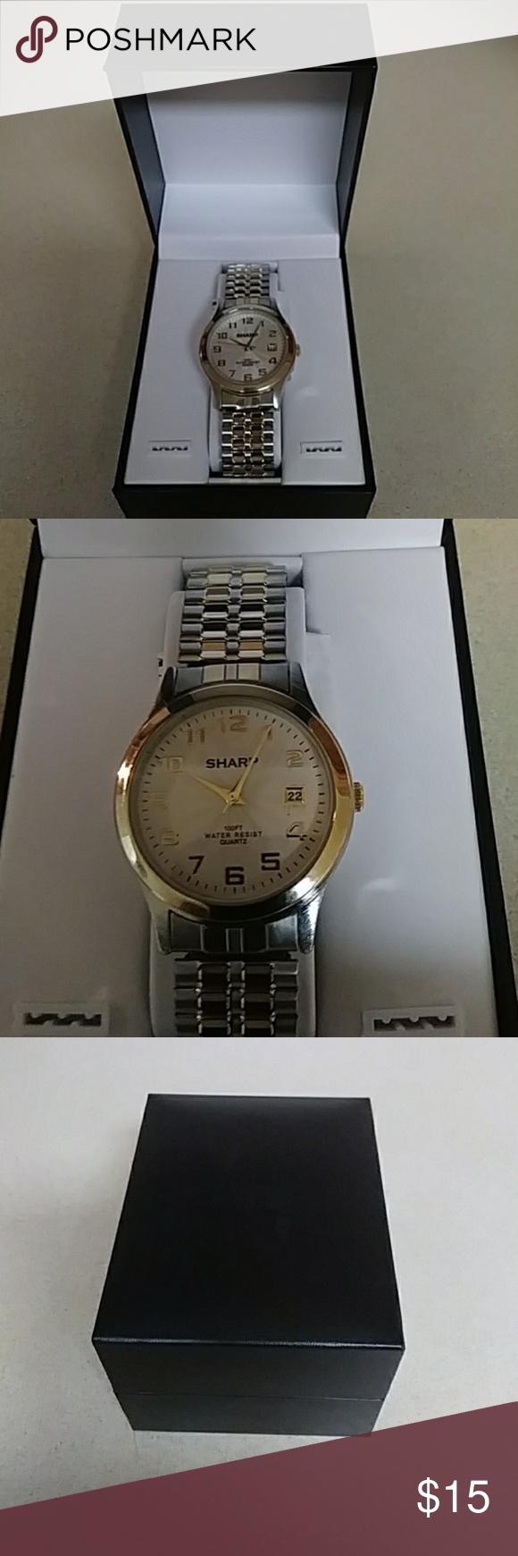 Sharp men's black digital watch with 100' water resistance, el.