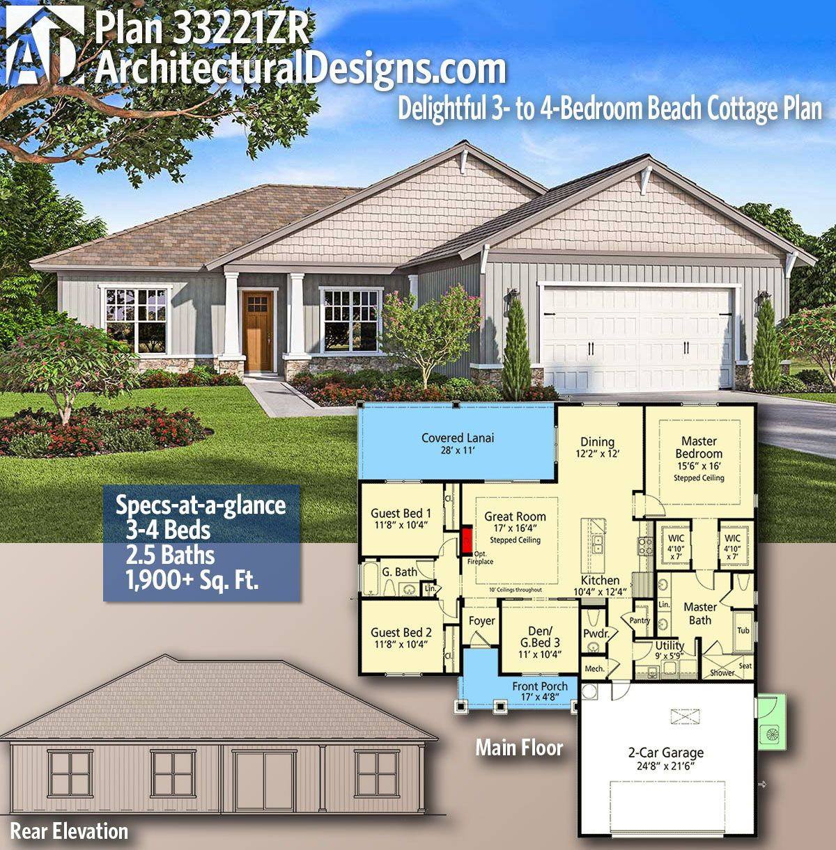 Plan 33221zr Delightful 3 To 4 Bedroom Beach Cottage Plan Cottage Plan House Layout Plans House Plans