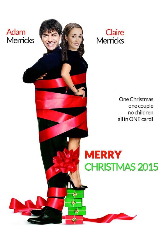 Four Christmases card, Funny Christmas Card, couples christmas card, caricature… | Family ...
