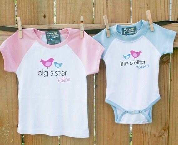 Big sister shirt, little brother - adorable raglan birdie matching sibling  set for any big/little combination - Big Sister Shirt, Little Brother - Adorable Raglan Birdie Matching