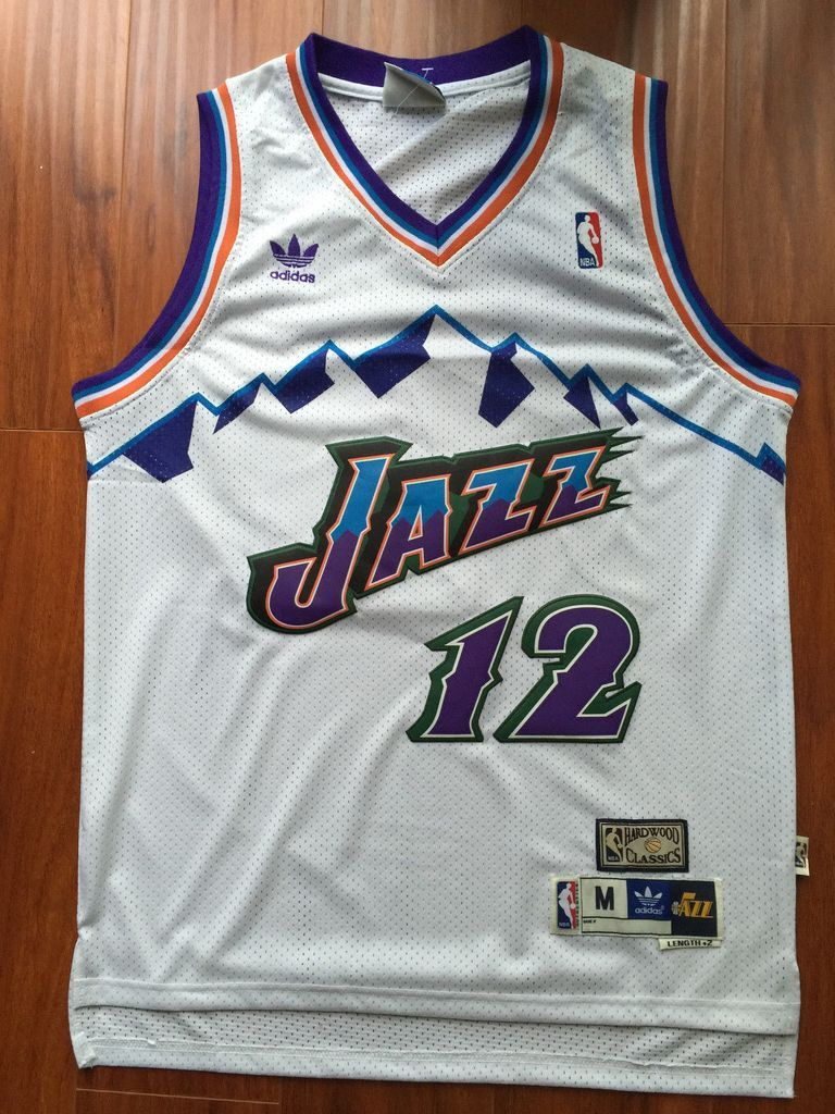 97129b94ff2 Men 12 John Stockton Jersey White Utah Jazz Jersey Throwback Swingman