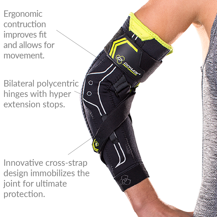 714ecc328c DonJoy Performance Bionic Elbow Brace has a unique cross strap design which  allows the user to set the max angle of extension to keep an injured or  healing ...