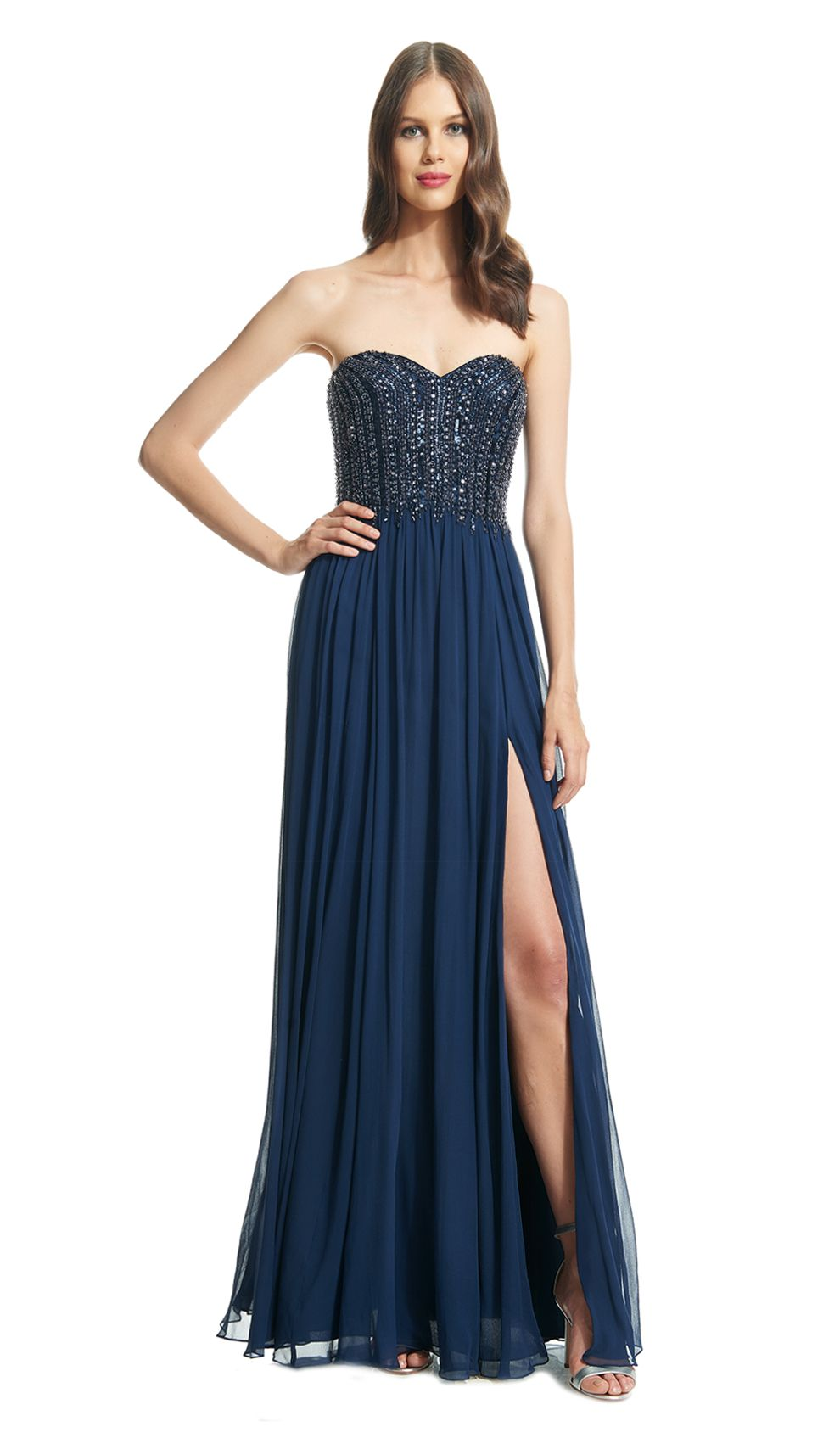 David Meister Navy Strapless Chiffon Gown Designer Dress Hire And