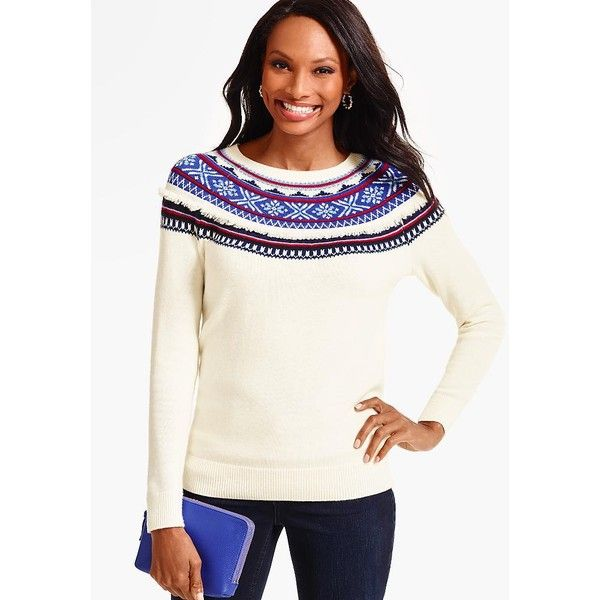 Talbots Women's Fringed Snowflake Fair Isle Sweater ($90) ❤ liked ...