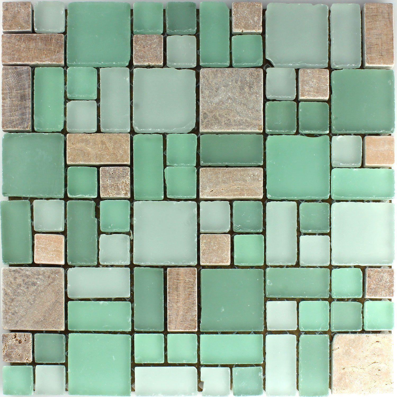 Mosaikfliesen grün  Marmor Glas Mosaikfliesen Cotto Grün Mix: Amazon.de: Baumarkt ...