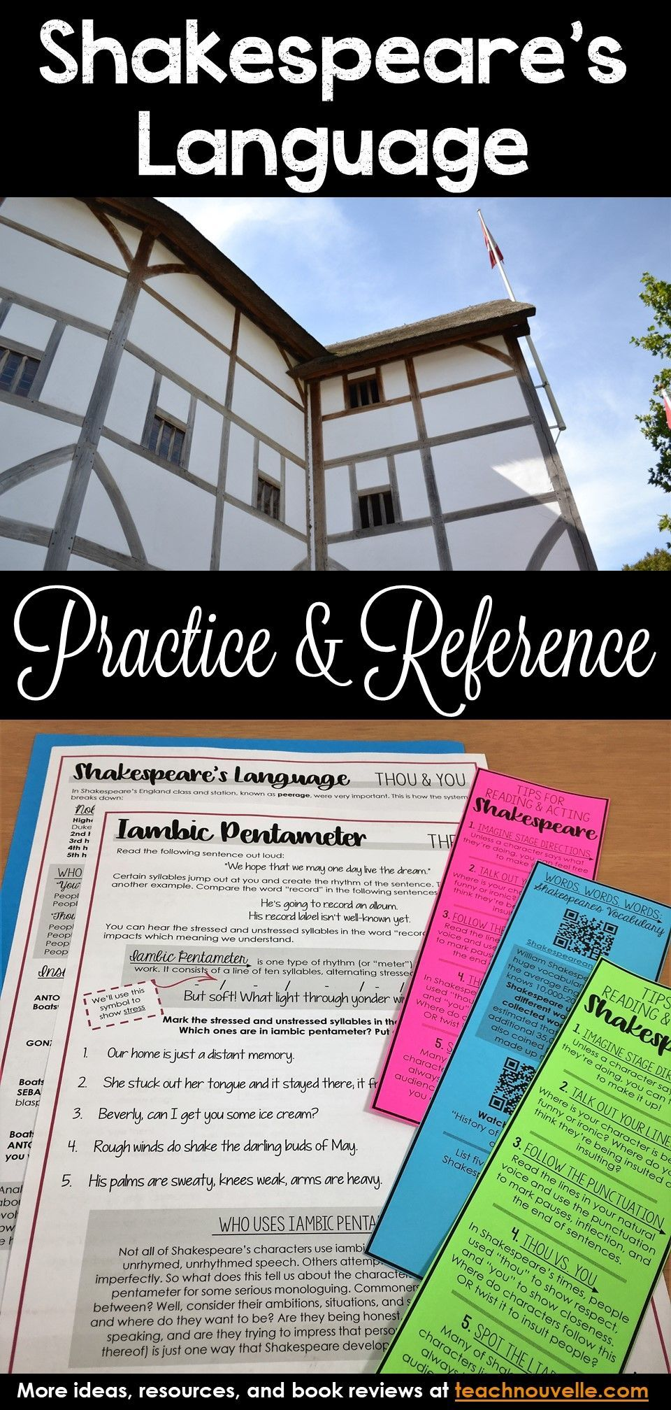Shakespeare S Language Worksheets And Bookmarks Shakespeare In 30 English Language Arts Classroom Teaching Shakespeare Language Worksheets