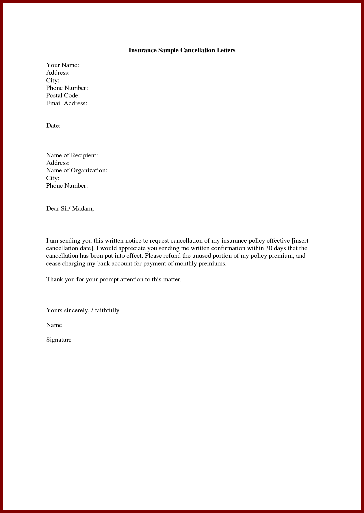 Insurance Cancellation Letter Life Write Sample Cover Templates Resignation Letter Resignation Letter Format