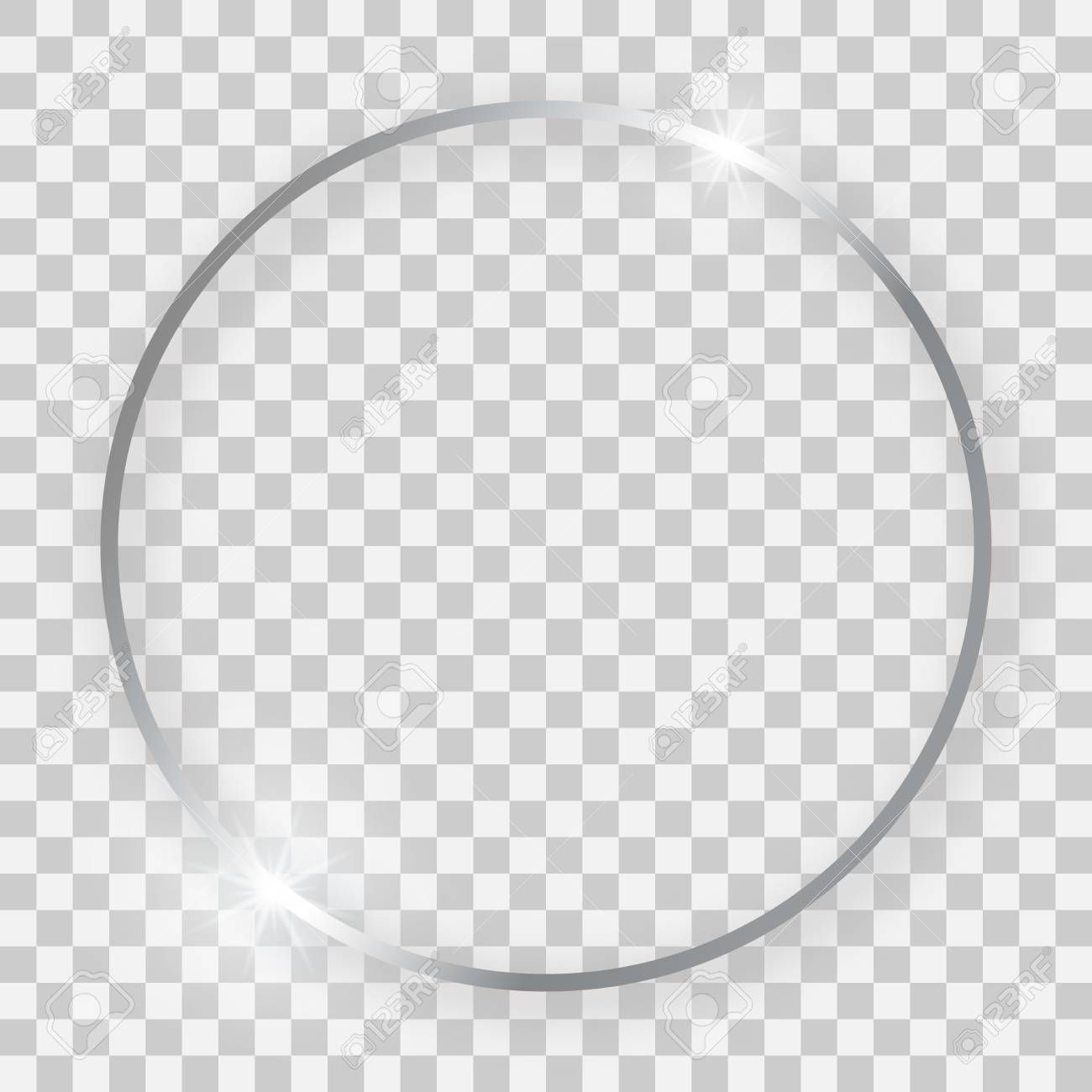 Silver Shiny Round Frame With Glowing Effects And Shadows On Transparent Background Vector Illustration Ad Glow Effect Transparent Background Transparent