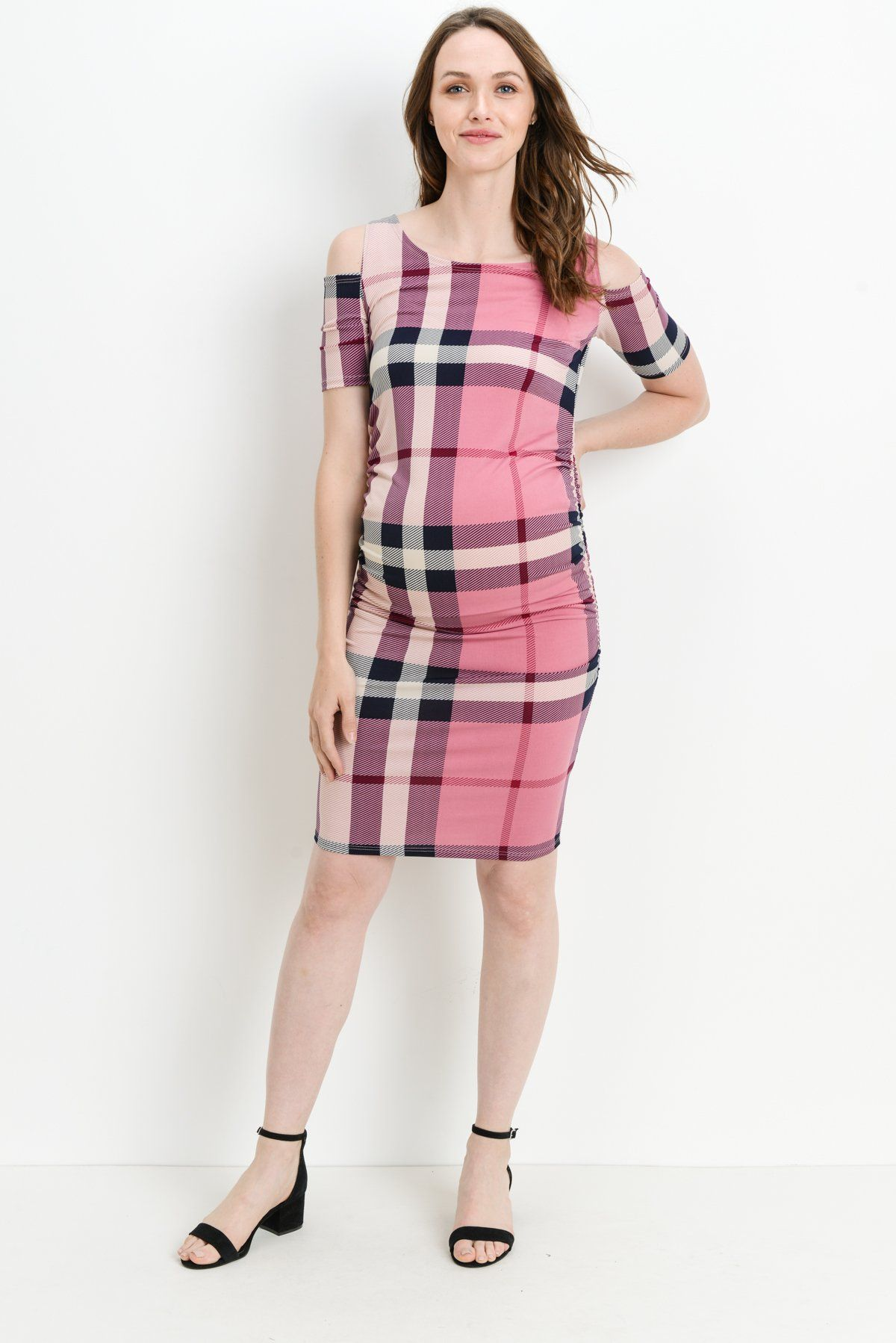 2b1bceba701 Maternity Fashion - Hello MIZ Womens Cold Shoulder Knee Length Fitted Maternity  Dress M Purple Plaid -- Look into this excellent item.