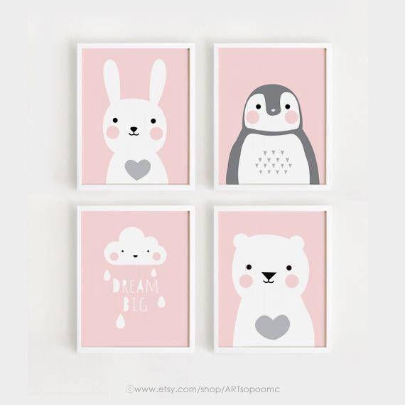 Imprimibles vivero arte Set de 4 carteles bebé niñas | Martina ...