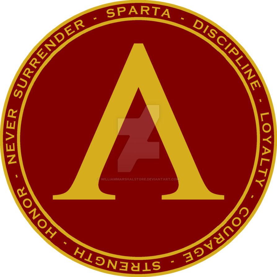 Sparta shield maroon and gold seal by williammarshalstore features the lamda the symbol shown on spartan shields surrounded by circular text describing spartan virtues on the back and front pocket buycottarizona Images