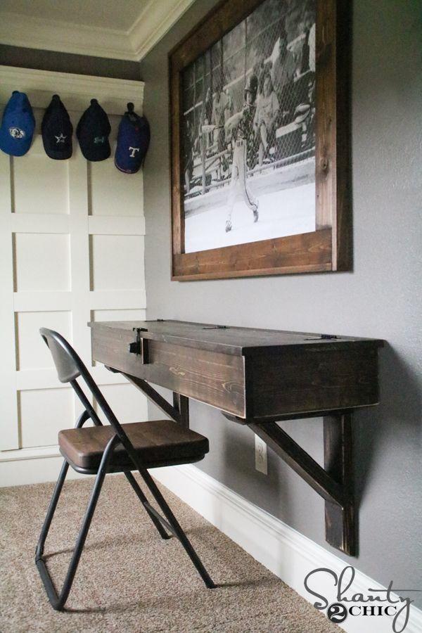 diy floating desk with storage boy o boy pinterest. Black Bedroom Furniture Sets. Home Design Ideas