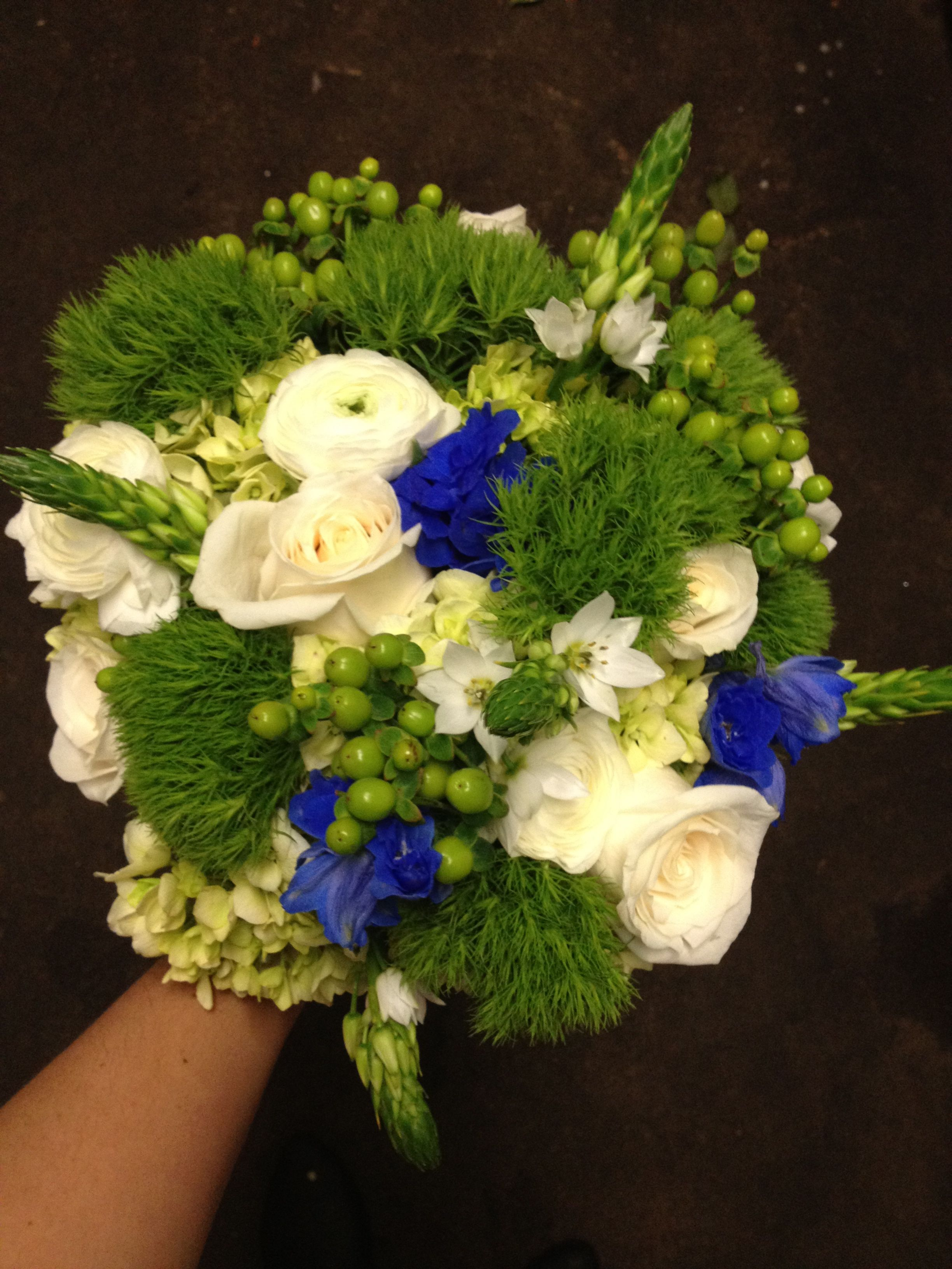 Bouquet of green hydrangea, green trick dianthus, cream
