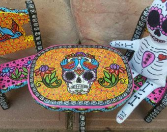 Captivating Sugar Skull, Mini Wood Table And Chairs, Sugar Skull Doll, Day Of The
