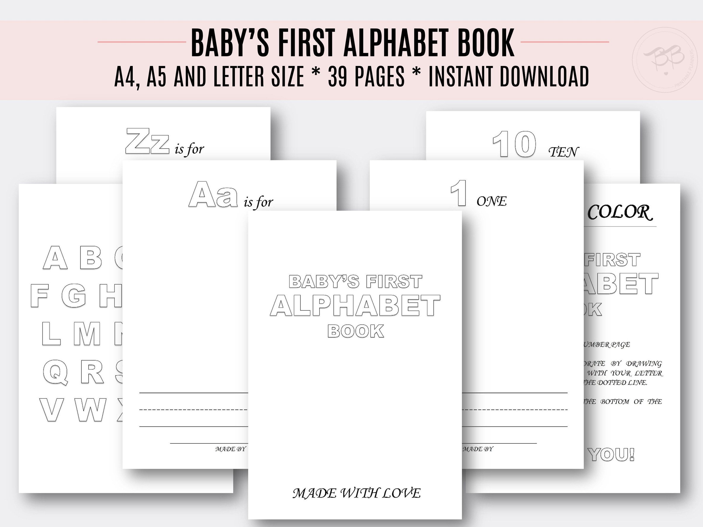 Baby S First Alphabet Book A4 A5 Letter Size Etsy Abc Book Template Alphabet Book Blank Coloring Pages