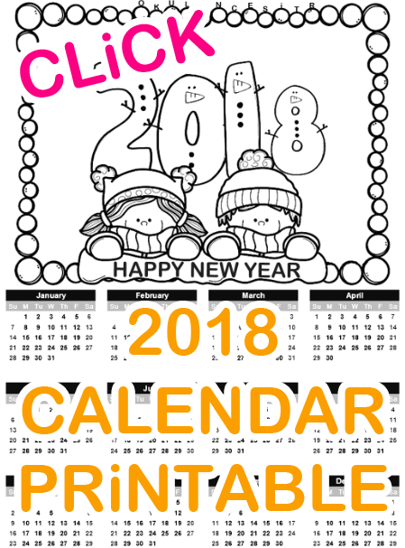 2018 Calendar Standart Printable 1snf Pinterest Schule
