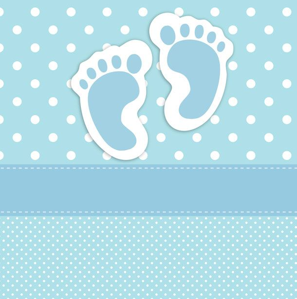 Baby Footprints Card Template Baby Boy Background Baby